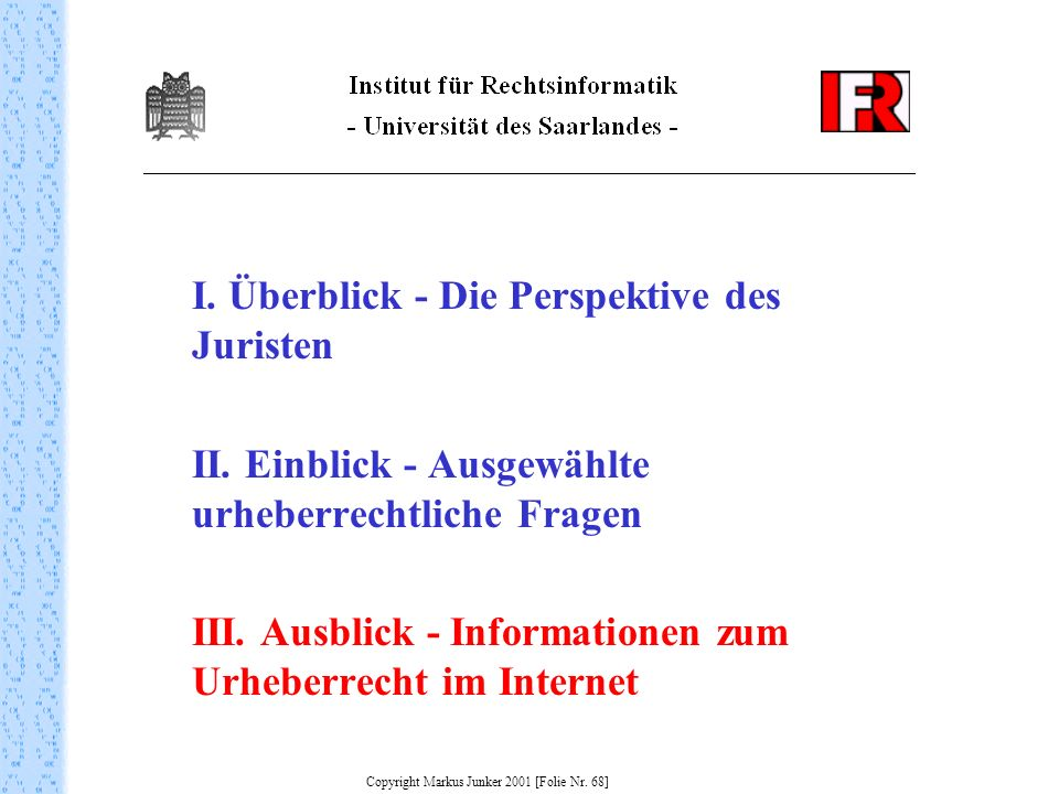 Copyright Markus Junker 2001 [Folie Nr. 68]